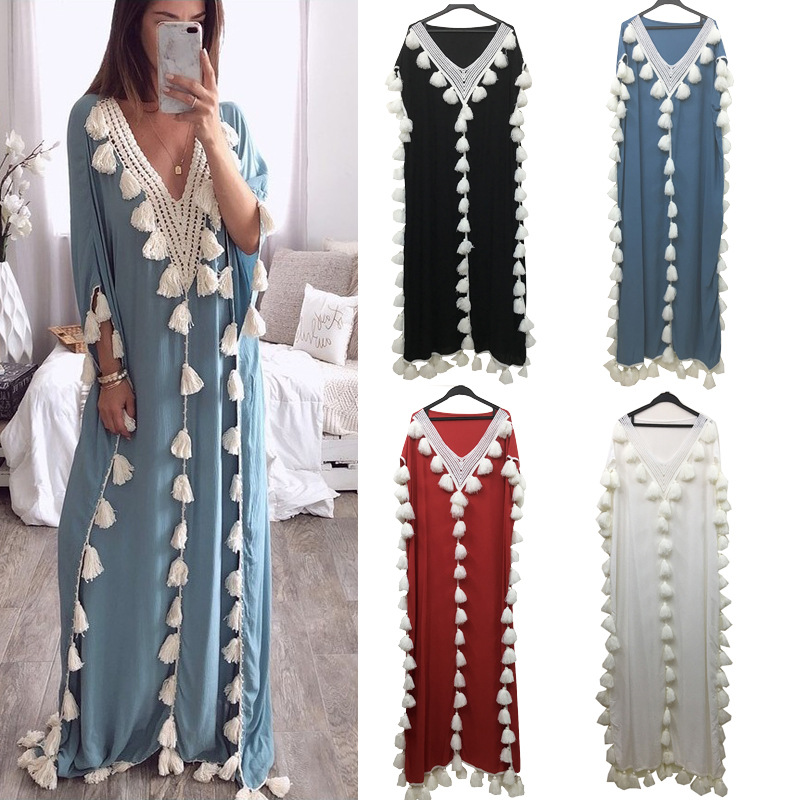 5XL Muslim Dress Arabic Middle Eastern Style Retro Female Tassel Loose Costume Elegant Temperament Spring Autumn All-match Robe