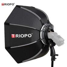 Triopo 90cm fotoğraf taşınabilir açık Speedlite sekizgen şemsiye Softbox Godox V860II TT600 Yongnuo YN560IV YN568EX Flash KS90