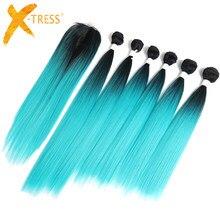 Nane yeşil Ombre renk sentetik saç demetleri ile dantel kapatma 14-18 inç 6 paket X-TRESS Yaki düz saç dokuma uzantıları
