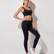 Conjunto de roupas de treino de yoga das mulheres roupas de treino atlético wear esportes ginásio legging sutiã de fitness sem costura top colheita manga longa yoga terno