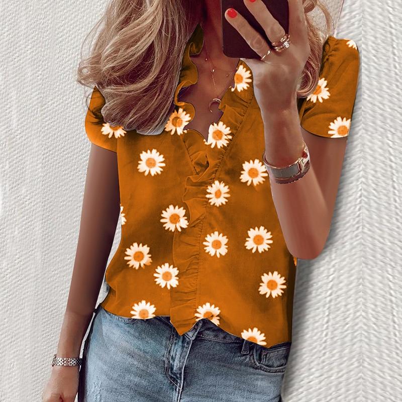 Pineapple Blouse Women Shirt Short Sleeve Womens Tops and Blouse Summer Ruffle Fashion Woman Blouses 2020 Feminine