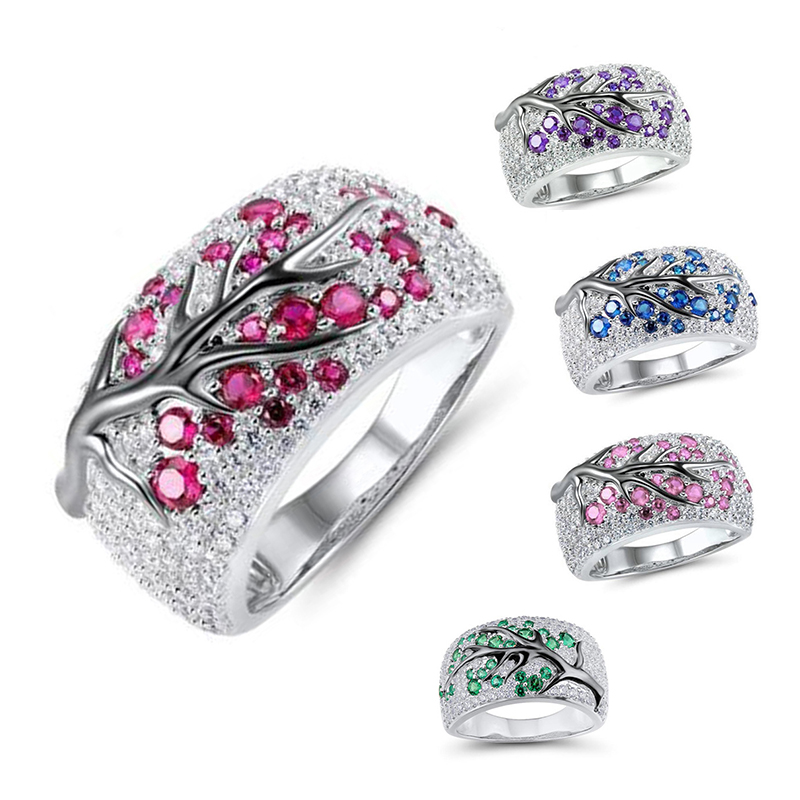Luxury Silver Color Plum Flowers Tree Branch Plant Pattern Rings For Women Men Blossom Paved Red Green Rhinestone Ring Wedding