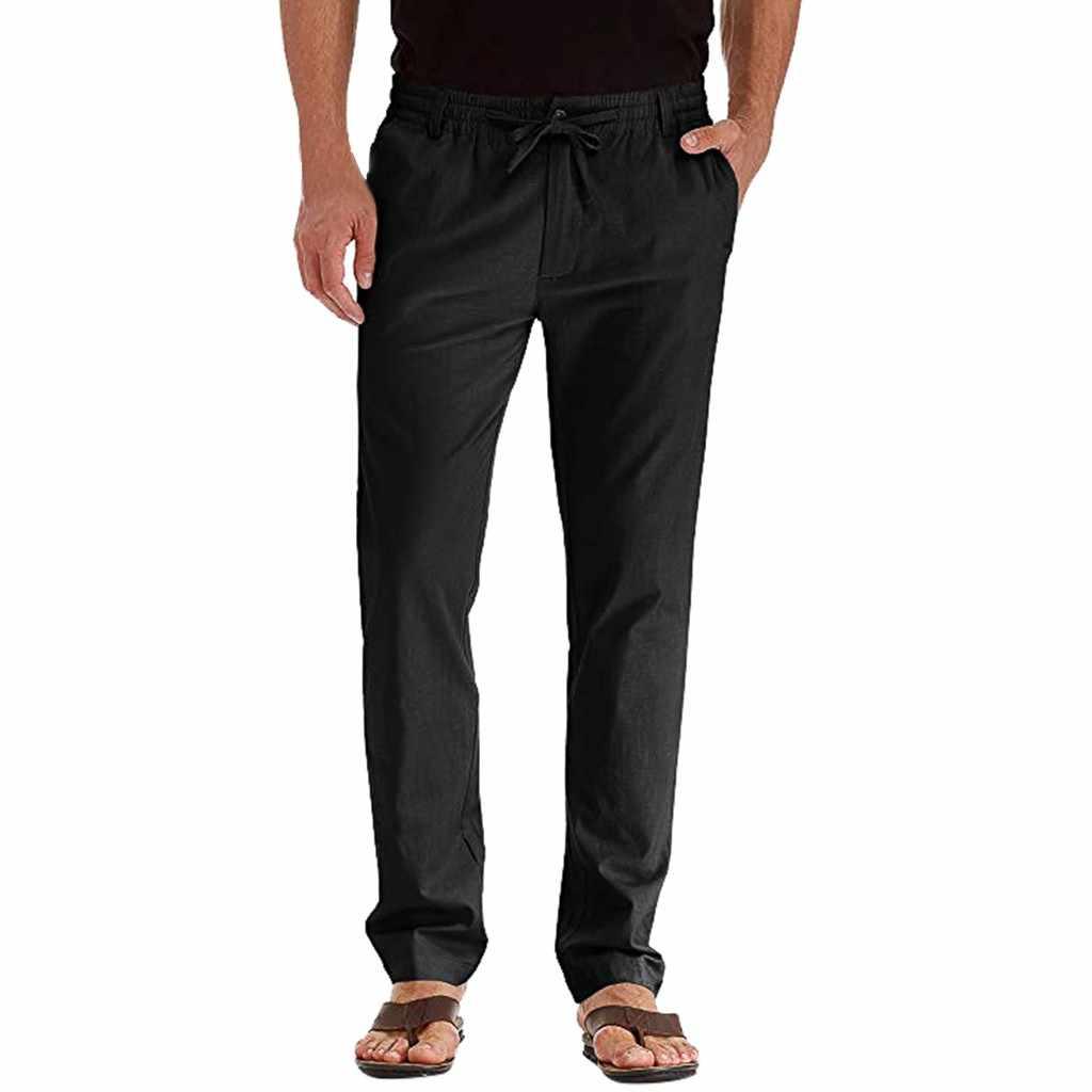 Pria Elastis Kasual Celana Pria Linen Gaun Jogger Stretch Panjang Celana Pria Perapi Celana Celana Pantalones Hombre
