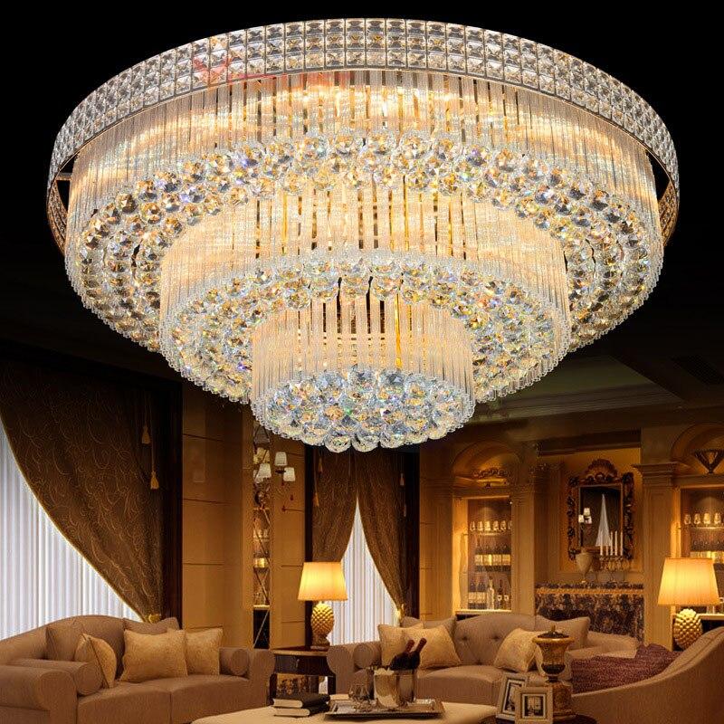 Luces de techo de cristal modernas lámparas de techo de lujo luminaria dorada deckenleuchte cristal redondo iluminación hogar accesorio LED Lámpara led downlight 10w 230V 110V downlight con atenuación luces empotradas en el techo panel led redondo luz inteligente luz descendente wifi