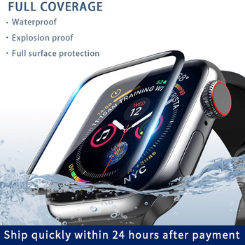 цена на 3D curved edge HD fiber glass film for Apple Watch 5 4 3 2 1 series tempered screen protector apply to iwatch 38mm 40mm 42mm44mm
