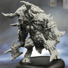 55mm Berserk Minotaur, Resin Model figure GK, Fantasy theme, Animal warrior, Unassembled and unpainted kit(China)