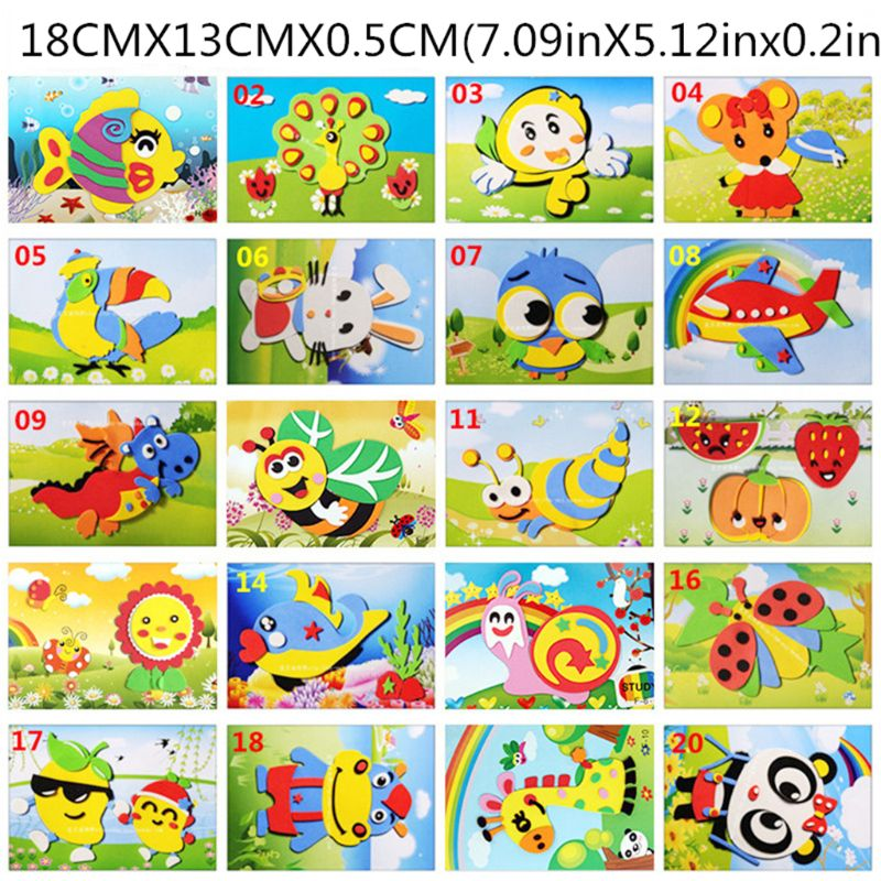 10PCS 3D EVA Foam Sticker DIY Cartoon Animal Puzzle For Children Kids Multi-patterns Styles Education Toys  Y4UD