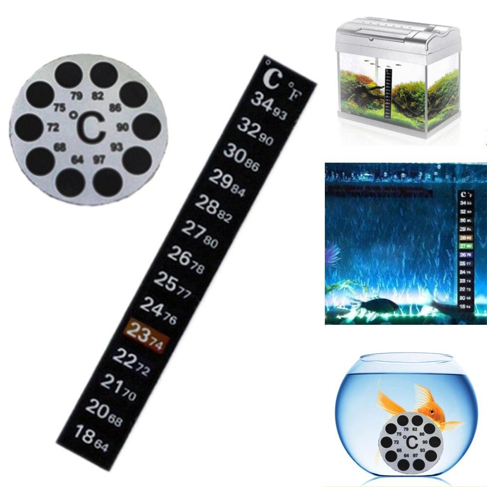 Celsius/Fahrenheit Fish Tank Round/Rectangle Thermometer Sticker Black Stick-On Measurement Aquarium Temperature Tools Kits New