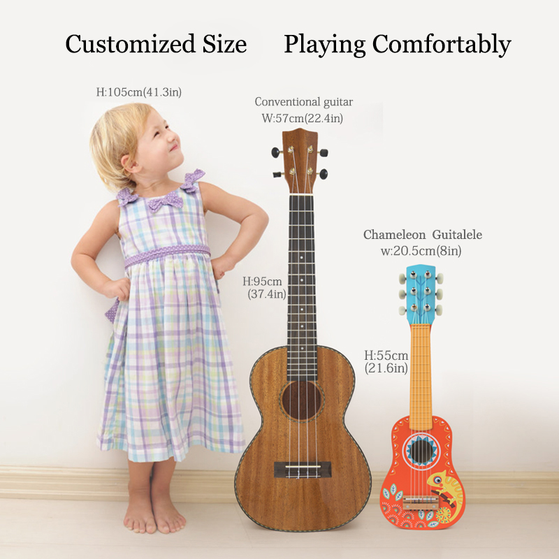 MiDeer Guitarra madera niños música Guitarra Ukelele Basswood 6 cuerdas Guitarra Musical educativo concierto instrumento juguete niños regalo - 3