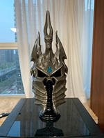 [Top] 1:1 WOW Lich King helmet figure resin toy include stand collection model adult cosplay Costume party gift