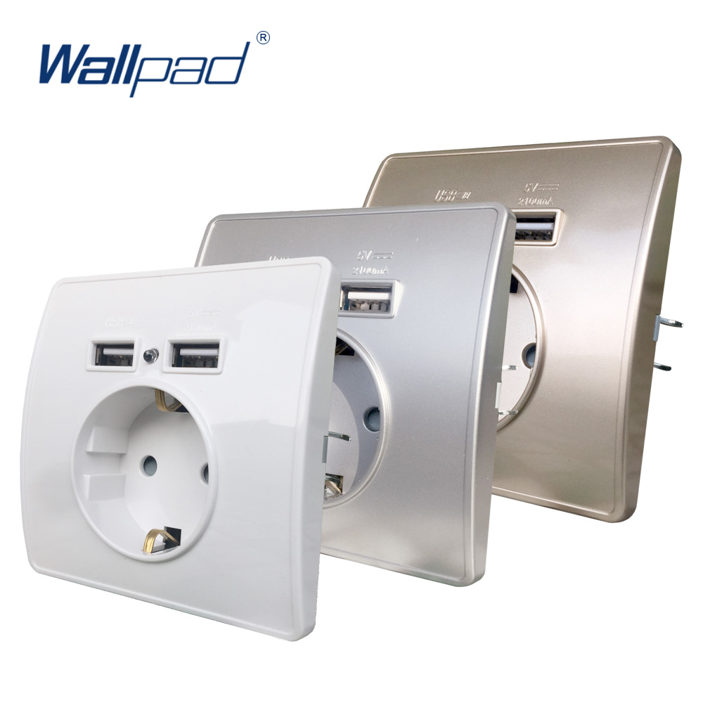 Wallpad EU Standard Electrical Wall Charger Adapter Charging Germany Plug Socket Power Outlets PC Panel White Gold Silver