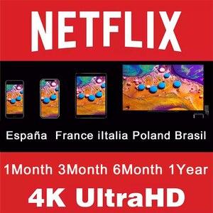 4K Netflix 1 año españa francia Polonia Italia brasil Europa 1 mes cuenta premium para tv Android tv Box tv Stick Laptop PC teléfono