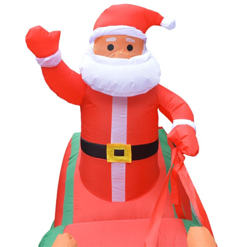 Рождественская надувная тележка с оленем, двойная Рождественская тележка с оленем, рождественское платье Санта Клауса, украшения, добро пожаловать - 4