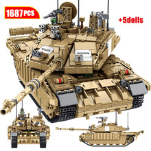 1687 шт., военная модель танка Challenger 2, строительные блоки Legoingly WW2, фигурки армейского солдата, игрушки для мальчиков
