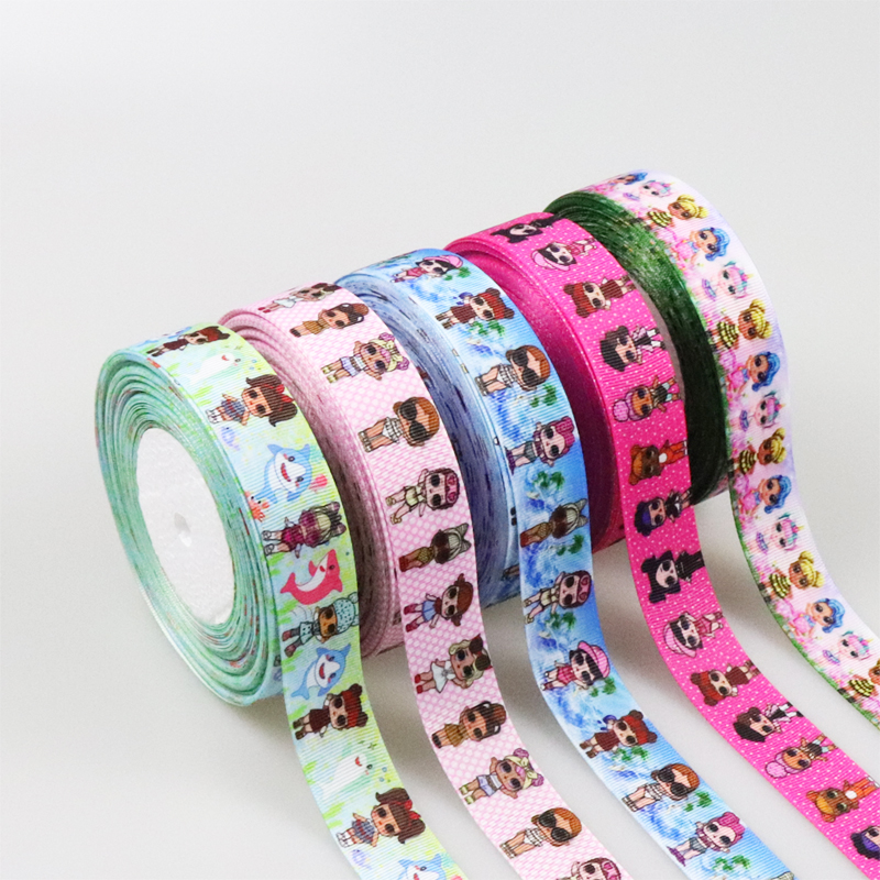 5 Yards/lot 25mm Children's Kids Lovely Cartoon Printed Grosgrain Ribbons Christmas Decoration Satin Ribbons Gift Wrapping