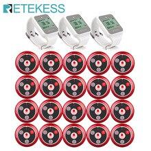 Retekess 무선 호출 시스템 식당 호출기 웨이터 전화 고객 서비스 3 TD108 시계 수신기 + 20pcs T117 통화 버튼
