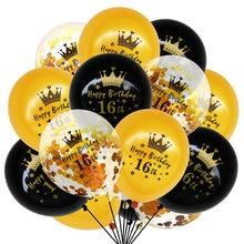 15 pçs feliz 16th aniversário balões ouro preto confetes látex ballon 16 anos de idade festa aniversário decoração globos