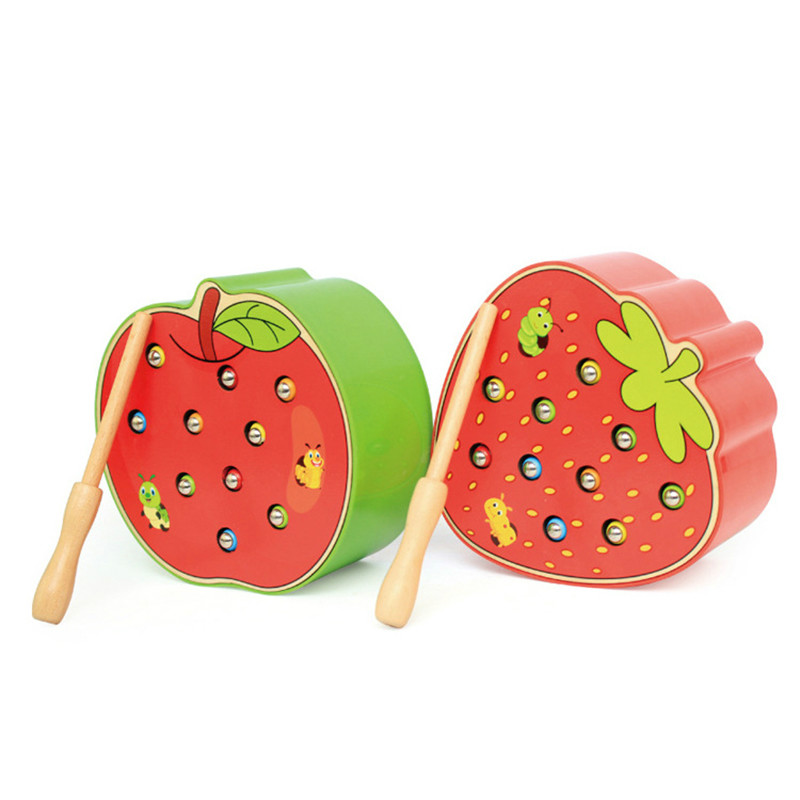 Catch Worm Game Magnetic Wooden Toys For Children 3D Puzzle Early Childhood Educational Toys Color Cognitive Strawberry Apple(China)
