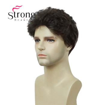 Brown Black Fluffy Synthetic Wig For Men