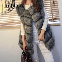 Rubilove Hairy Faux Fur Sleeveless Women Coat Vest Plaid Thick Warm Female Jacket Vests Winter Ladies Elegant Outwear