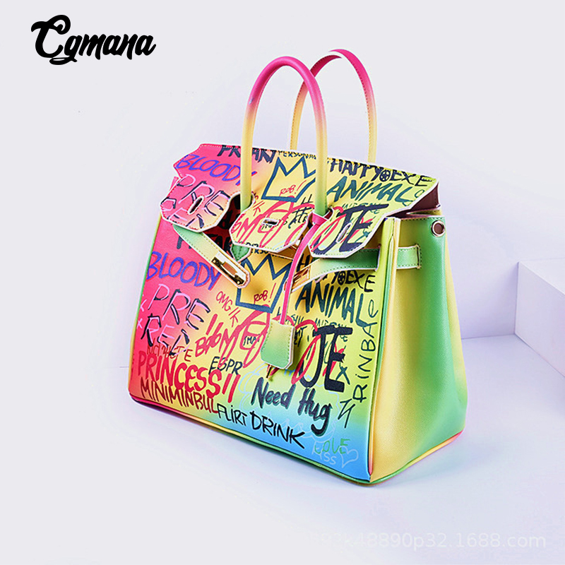 Famous Brand Graffiti Bags For Women Rainbow Color Luxury Handbags Women Bags Designer Shoulder Bags Ladies Purses And Handbags