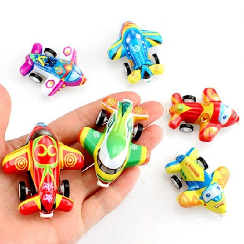 6pcs/lot Mini Pull Back Airplane Toys Powerful Aircraft Cute Cartoon Plane Model Simulated Warplane Educational Toys Kids Gifts