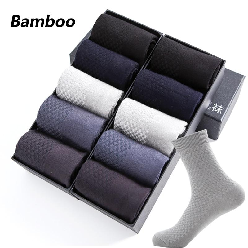 10 Pairs High Quality Bamboo Fiber Men's Socks Business Breathable Deodorant Compression Socks Men Long Big Size EUR 38-46