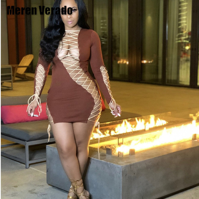 Meren Verado Midnight Party Dresses Lace Up Hollow Out Sexy Women Mini Midi Dress Fashion Bodycon Clubwear 2021 Spring Summer 1