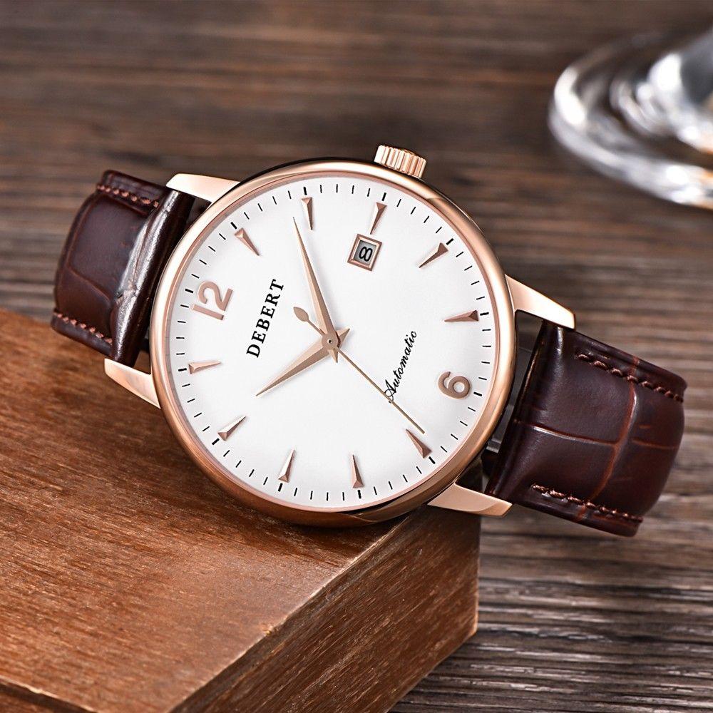 Debert 40mm Sapphire Glass Leather strap luxury top brand male clock mechanical Automatic date relogio masculino Dress men watch