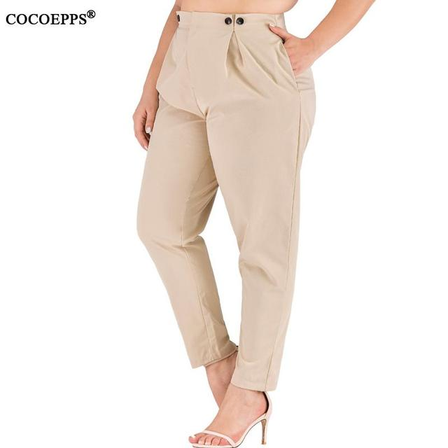 XL-4XL 2020 Spring Plus size Women Harem Pants Casual Summer Office Ladies Trousers Large Size Female High Wiast Khaki Work Pant 20