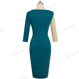 Image 2 - Nice forever Elegant Contrast Color Patchwork Office vestidos Business Party Bodycon Sheath Women Dress B546