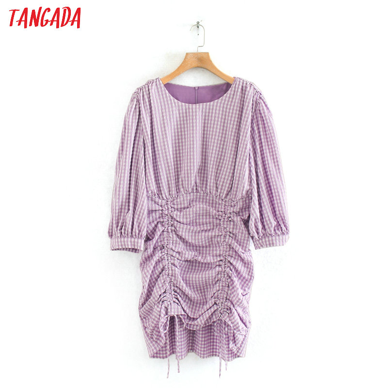 Tangada Fashion Women Purple Plaid Print Pencil Mini Dress O Neck Back Zipper Ladies Vintage Dress Vestidos 2W01