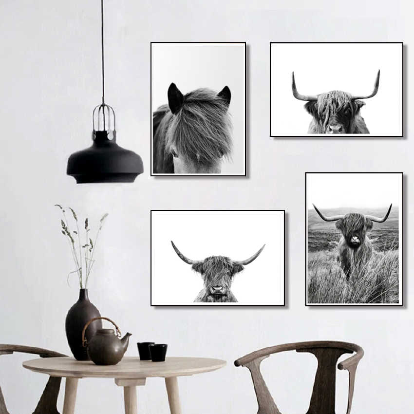 Black And White Highland Cow Print
