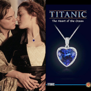 Fashion luxury Wedding Necklace Jewelry for Women Blue Crystal Necklace Titanic Heart of Ocean Love Forever Pendant Necklace