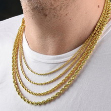 VANTAGE ROPE CHAINS NECKLACE TWISTED STAINLESS STEEL GOLD TONE FREE ALLERGIC 3MM/4MM/6MM MEN PUNK JEWELRY(China)