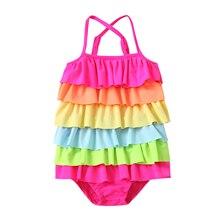Baby Girls Fashion Rainbow Color One-piece Swimsuit kids Stylish Sleeveless Bathing Suit