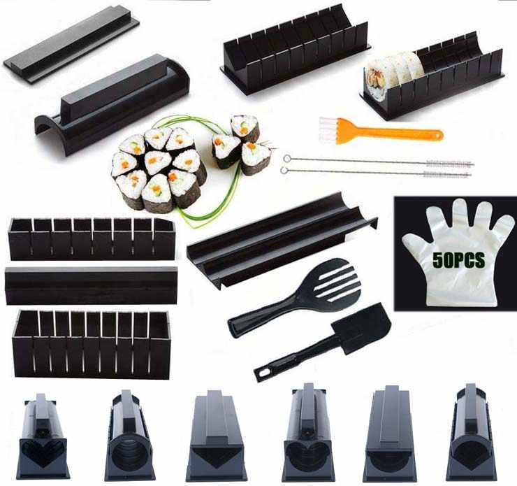IYouNice 11 Pçs/set Fabricante de Equipamentos de Sushi Kit, Bolinho de Arroz Japonês Bolo de Rolo Molde Sushi Molde Multifuncional Tomada de Sushi Ferramentas