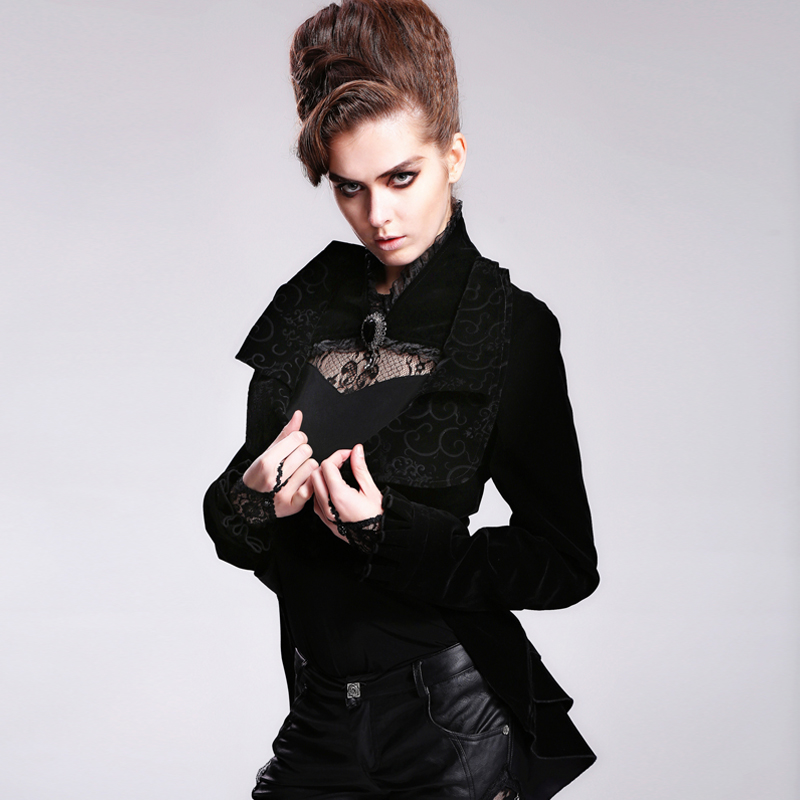 Steampunk Women's Short Jacket Swallow-tail Coat With Brooch Asymmetry Dovetail Outerwear Coat Gothic Black Coat