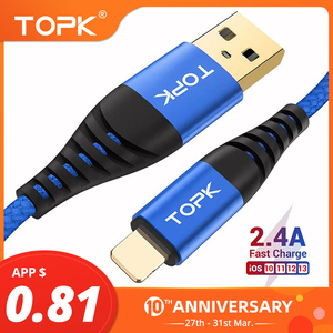 TOPK AN42 USB Cable for iPhone 11 Pro Max Xs Max 8 7 6 Plus 5 5s iPad Fast Charging Charger Mobile Phone Cable 1M 2M 3M