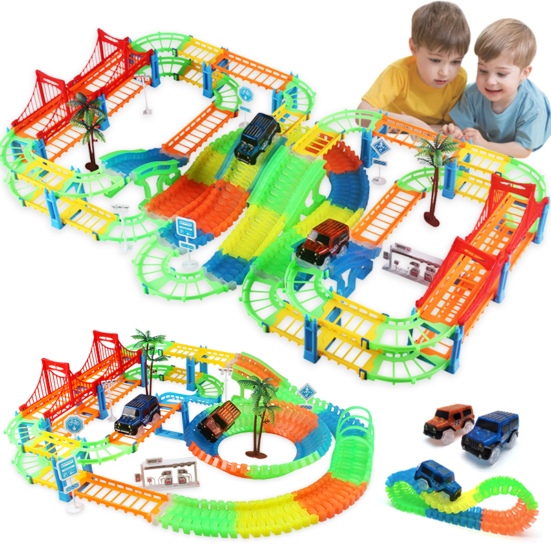 Connect 2 Type Railway Magical Racing Track Play Set DIY Bend Flexible Race Track Electronic Flash Light Car Toys For Children