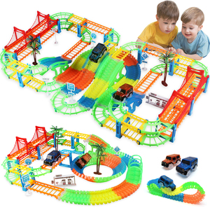 Image 1 - Connect 2 Type Railway Magical Racing Track Play Set DIY Bend Flexible Race Track Electronic Flash Light Car Toys For Children