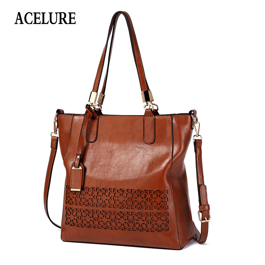 ACELURE Brand Women's Shoulder Bag Female PU Leather Handbag Women Bags Designer High Quality Hollow Out Large Capacity Tote Bag