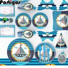 Ensemble de vaisselle jetable sur le thème marin bleu, décorations de fête, bateau, assiettes et gobelets en carton pour enfants, décorations de fête d'anniversaire