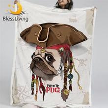 BlessLiving 해적 퍼그 던지기 담요 만화 개 봉제 담요 어린이를위한 침실 브라운 사용자 정의 담요 150x200cm Mantas De Cama