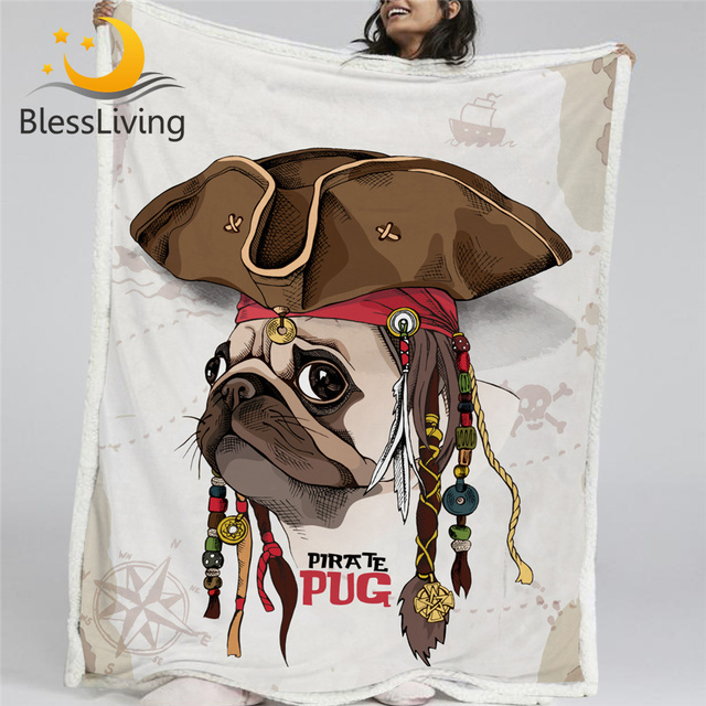 BlessLiving القراصنة الصلصال رمي بطانية الكرتون الكلب بطانية قطيفة للأطفال غرفة نوم البني بطانية مخصصة 150x200 سنتيمتر Mantas دي كاما