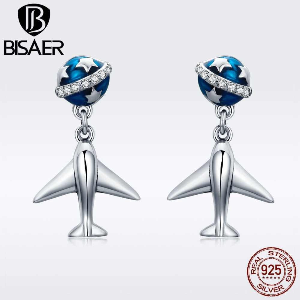 BISAER Real 925 Sterling Bijoux Travel Dream Plant and Plane Earrings for Women Fashion Jewelry Stud Earings S925 Stamp GXE331