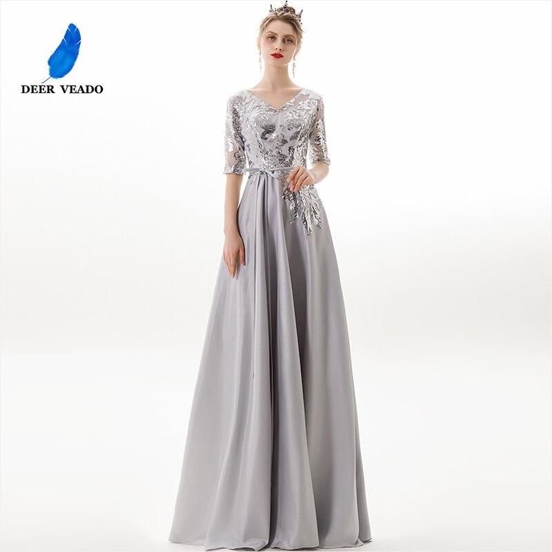 DEERVEADO A Line V Neck Long   Evening     Dress   2019 Backless Party   Dresses   Formal   Dress     Evening     Dresses   Vestido De Festa YS462