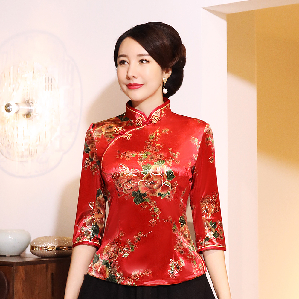 Women Red Floral Shirt Vintage Blouse Velvet Traditional Chinese Tang Clothing Oriental Tops Retro Mandarin Collar Velour Coat