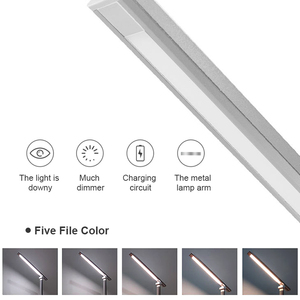 Image 2 - JUNEJOUR LED lampe de Table lampe de bureau capteur tactile réglable yeux pliables protéger avec USB noir/argent/or