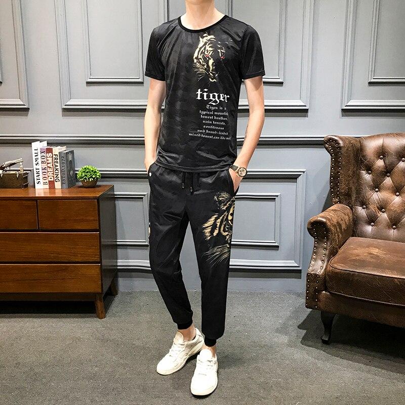 Summer Tiger Print Tracksuit Men 2Pcs T-shirt Sweatpants Casual Suits Men's Sportswear Nightclub Hip Hop Clothes Plus Size 5xl